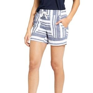 ATHLETA Bold Stripe Linen Drawstring Shorts Size 4